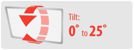 Tilt: -25° | Small Ceiling TV Mount