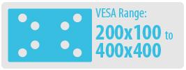 VESA Range: 200x100 to 400x400   Medium TV Wall Mount