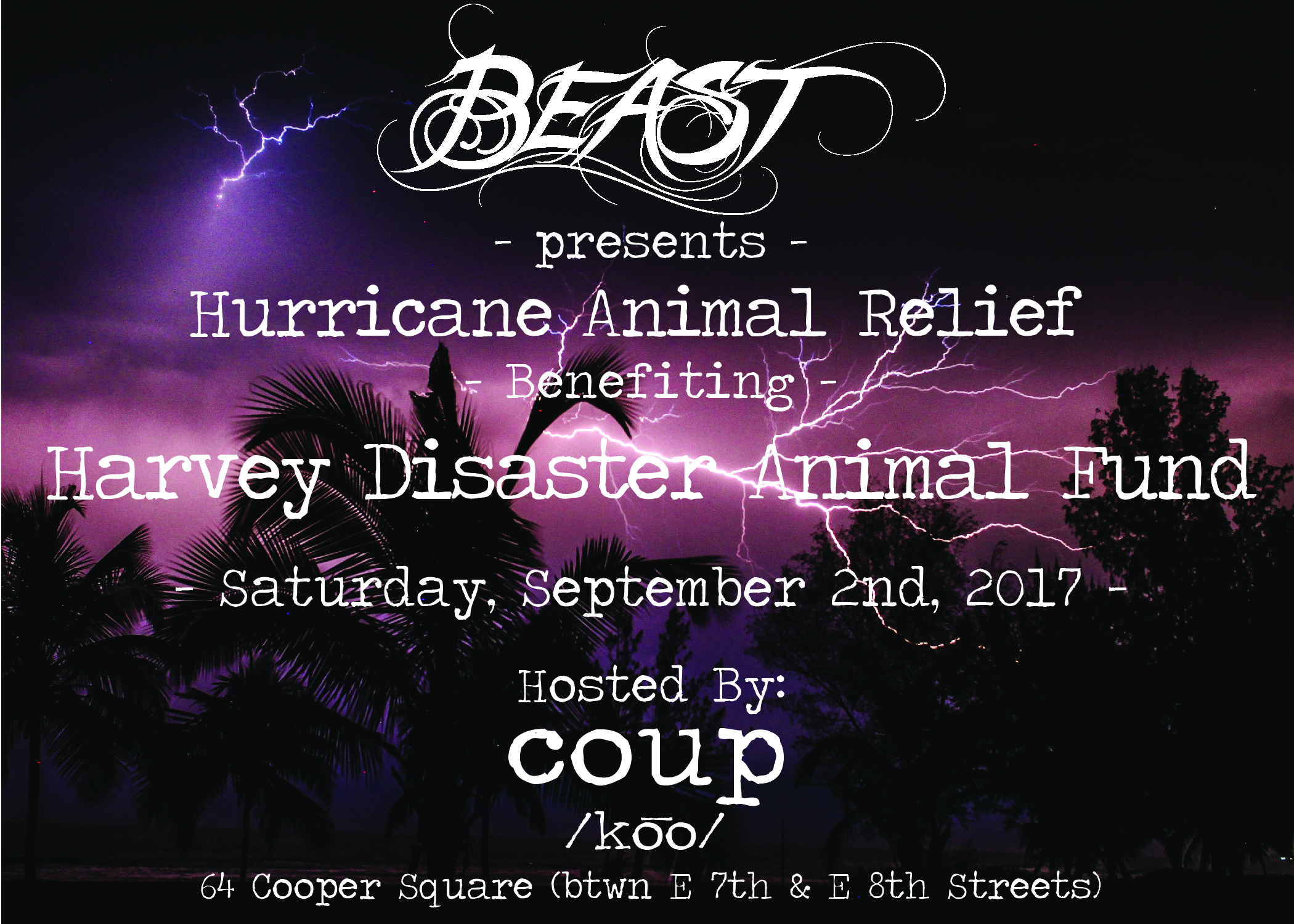 Join us September 2nd for our harvey disaster animal fund event to raise money for 4 paws farm and provide food, shelter, veterinary care and transportation for animals in need.