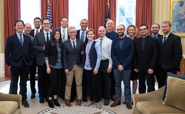 EpicLLOYD, Nice Peter, and the stars of YouTube meet with President Obama. - Photo courtesy of Tubefilter