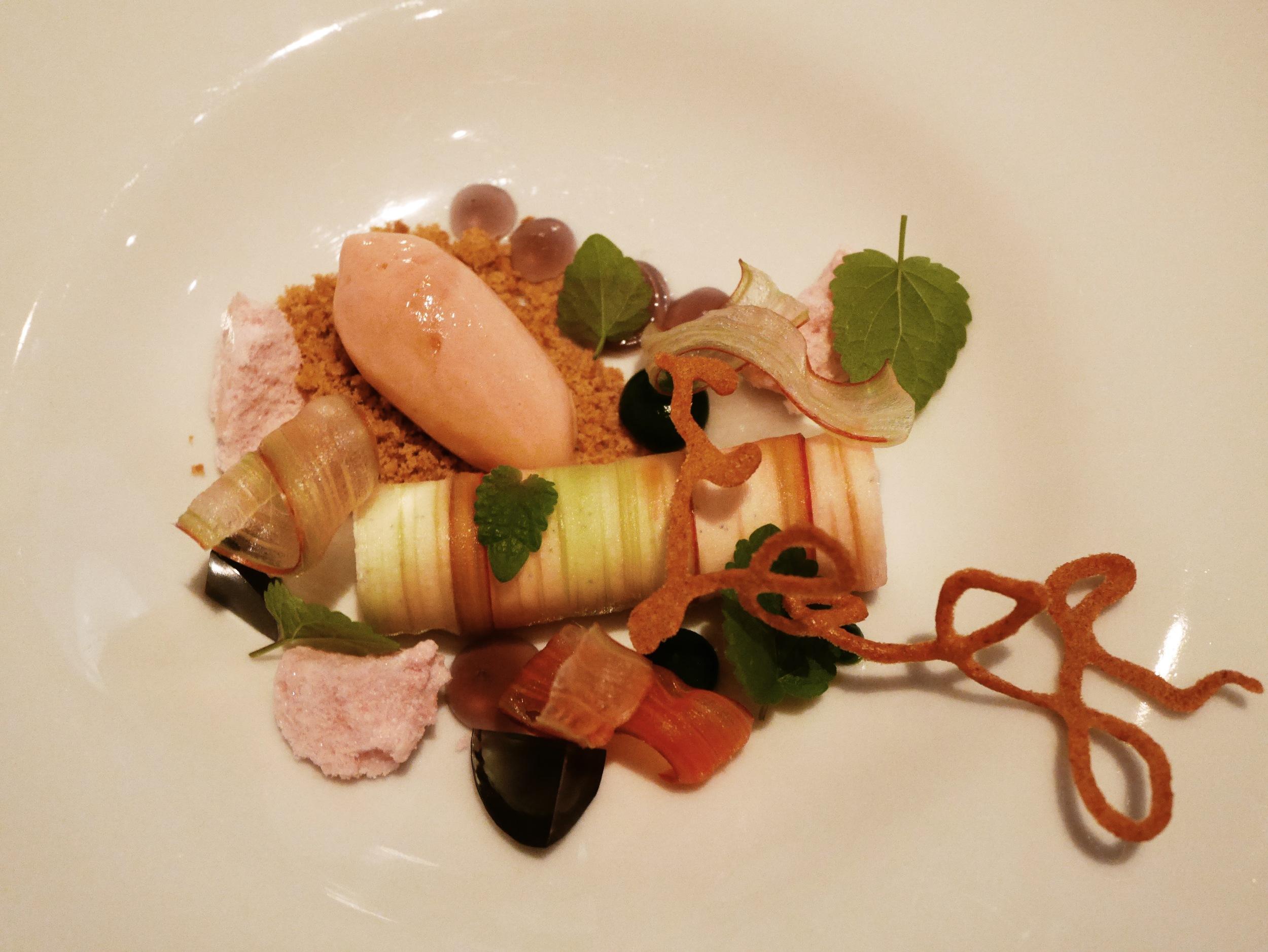 Rhubarb, violet, graham, anise hyssop