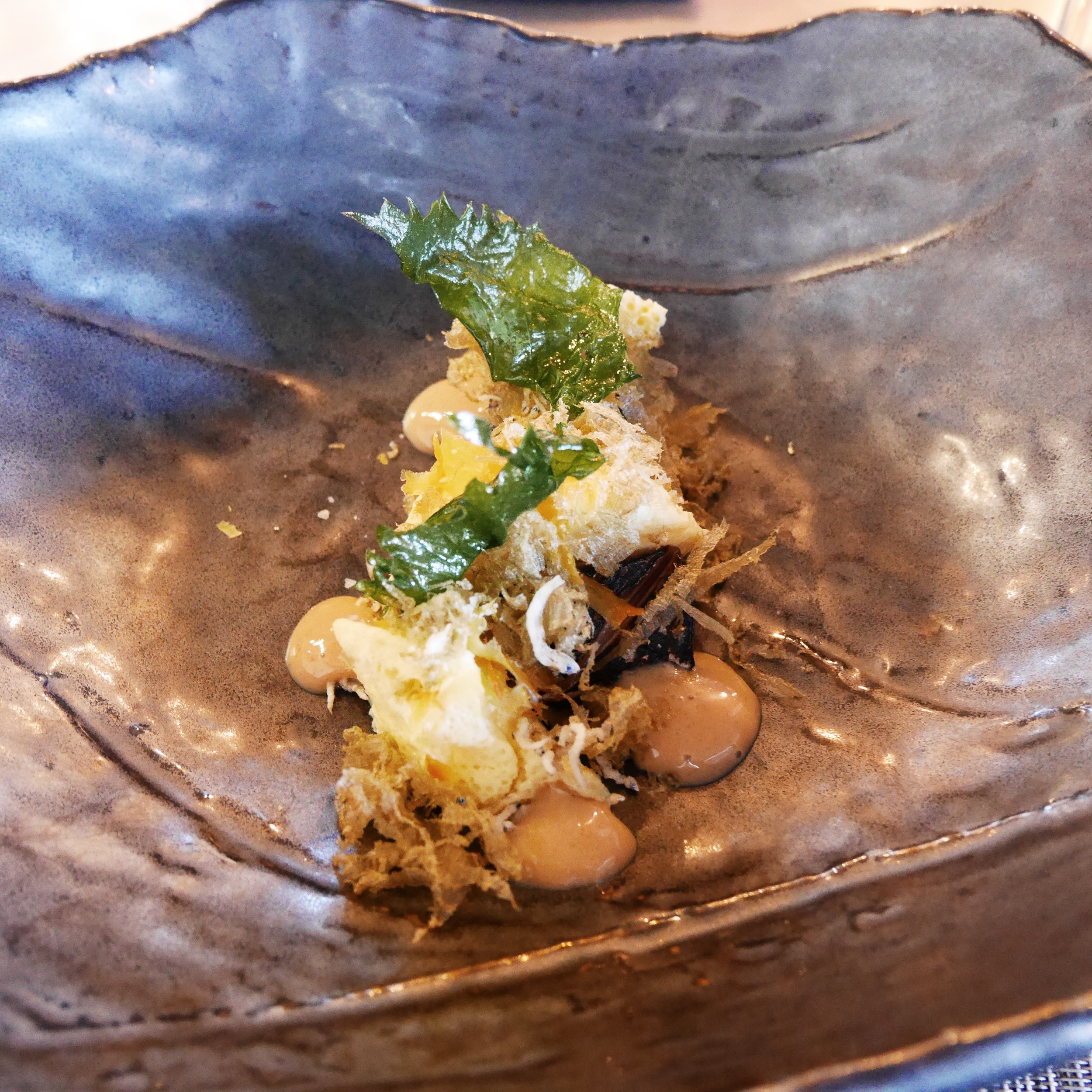 Saba, egg, toasted rice, kombu, ohba leaf