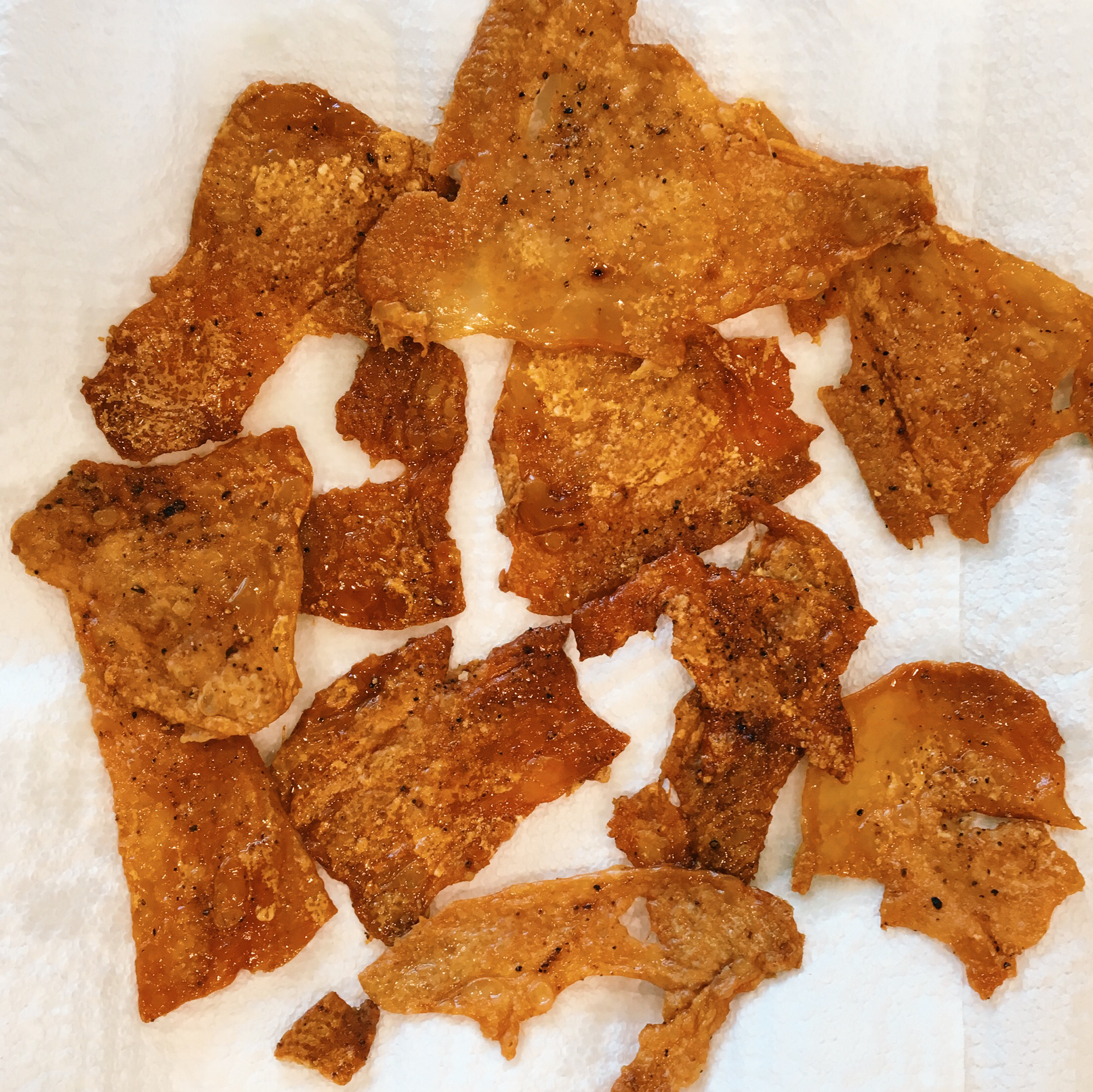 Cooked chicken skins