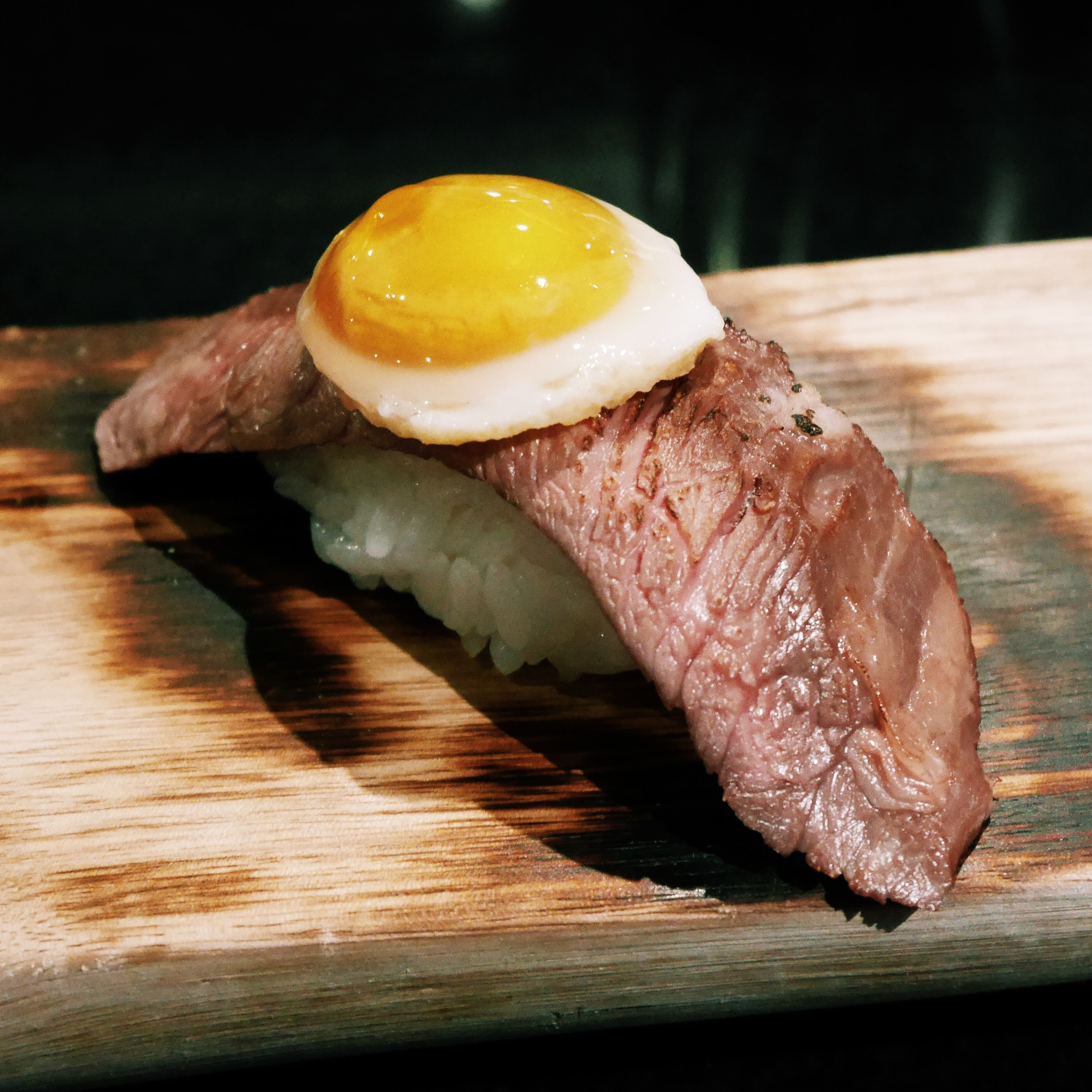 Sushi earth - steak and egg