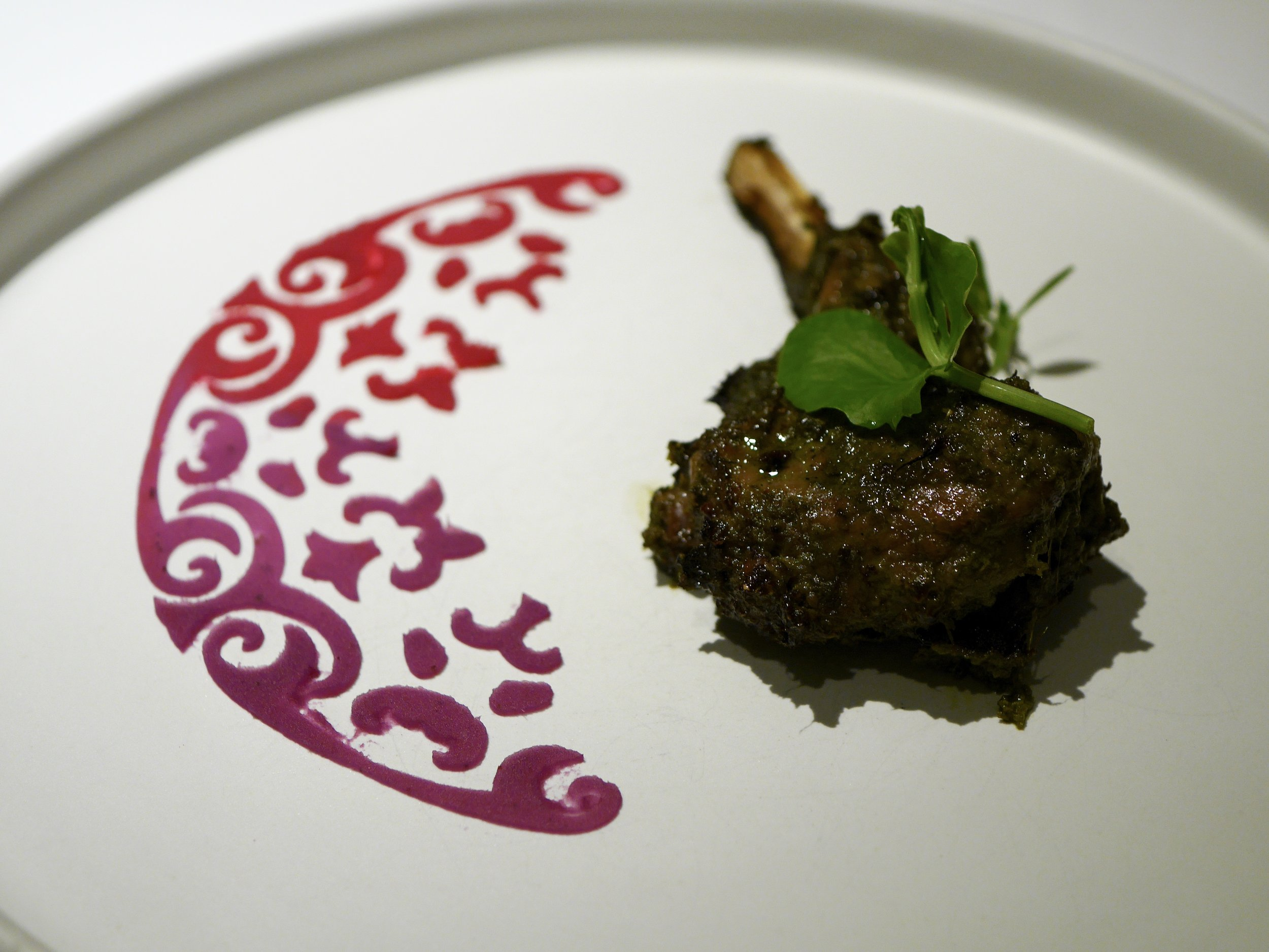 Lamb chop with beet and sweet potato rangoli