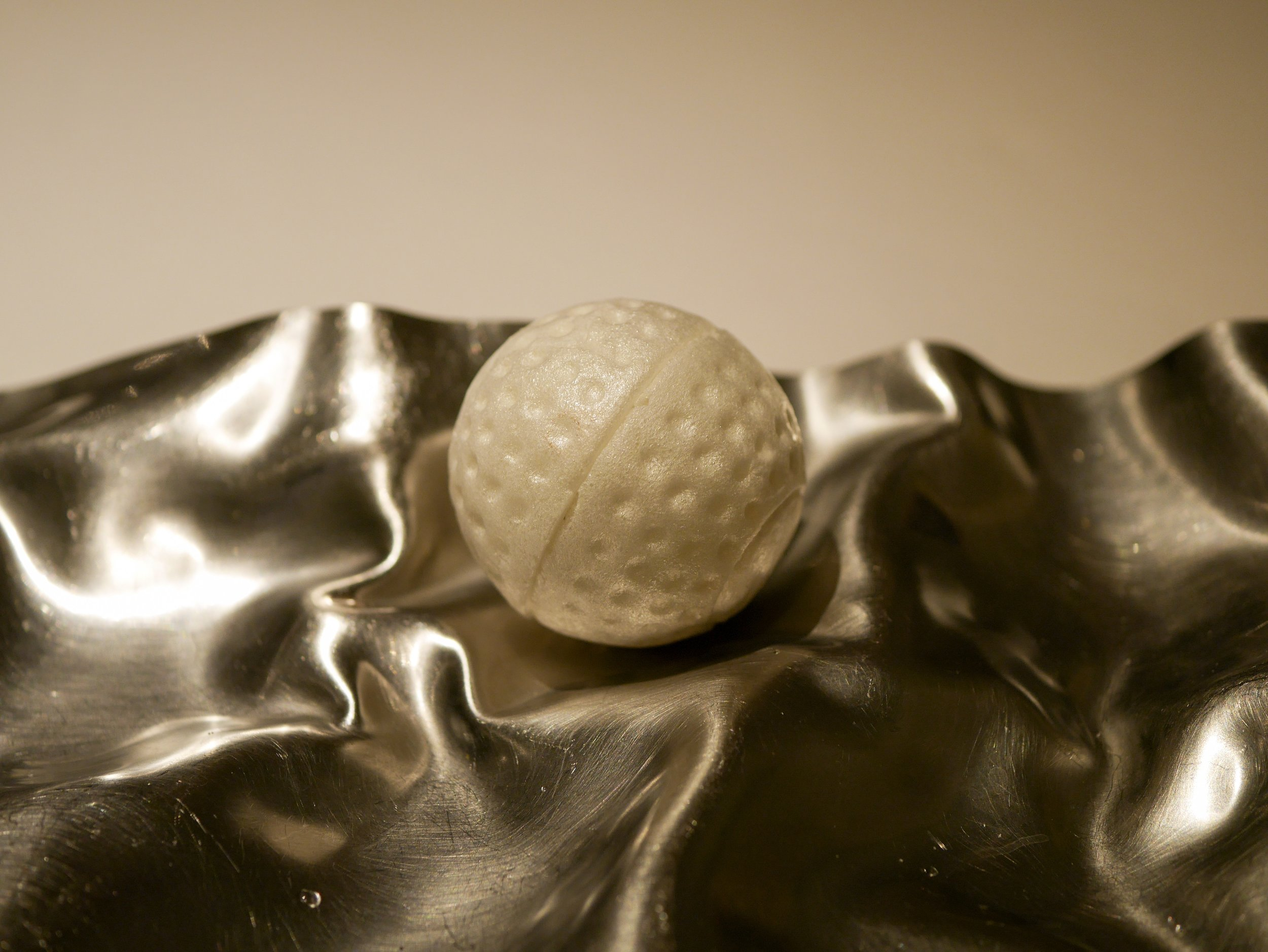 Rice cake golf ball with coconut