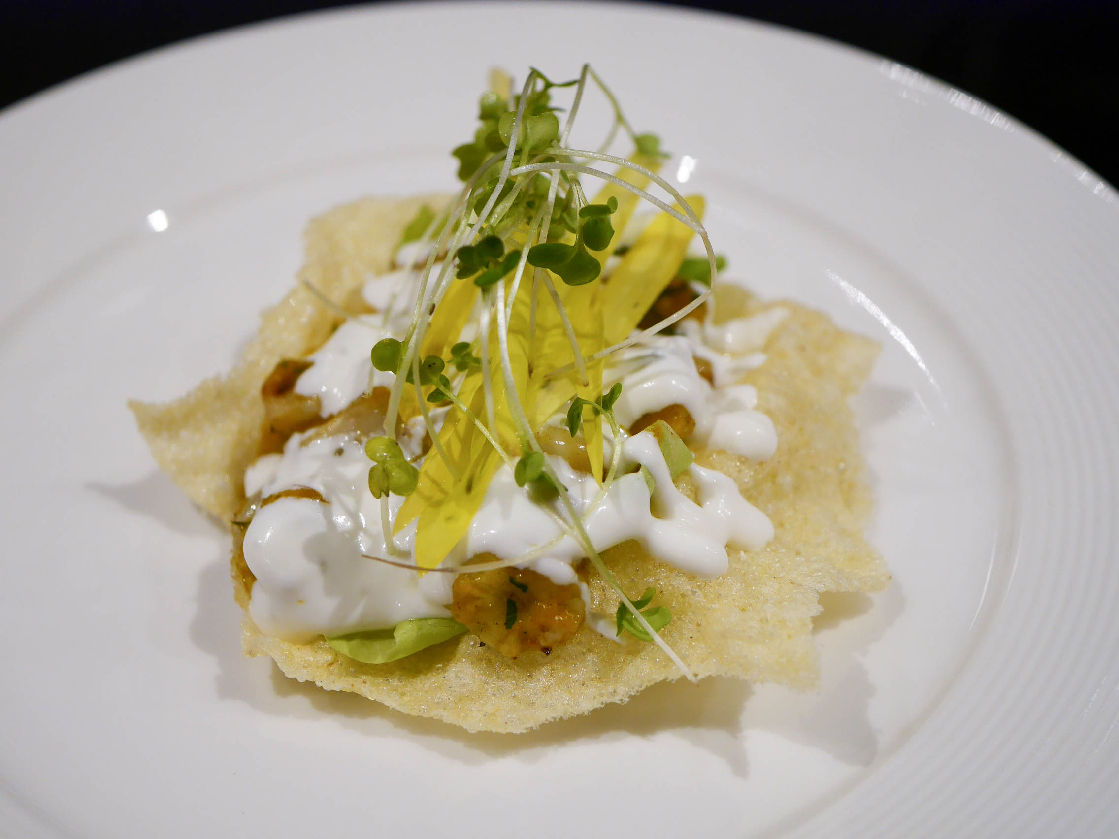 Corn tostada on puffed corn cracker