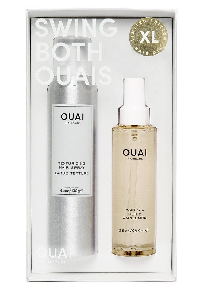 OUAI HAIRCARE - SWING BOTH OUAIS - It's no secret that OUAI has become one of my favorite haircare brands over the years. They have a few gift sets on their website but ultimately I chose this one (which comes with an XL Hair Oil and Texturizing Hair Spray) because of the hair oil. For sure my number one product and it's twice as big?? Sign me up! Also, this is one of the best hairsprays I have ever used, it smells so good and doesn't make your hair crunchy! $48 & Receive Free Shipping on your order with this code: https://prz.io/xgG9vlU0