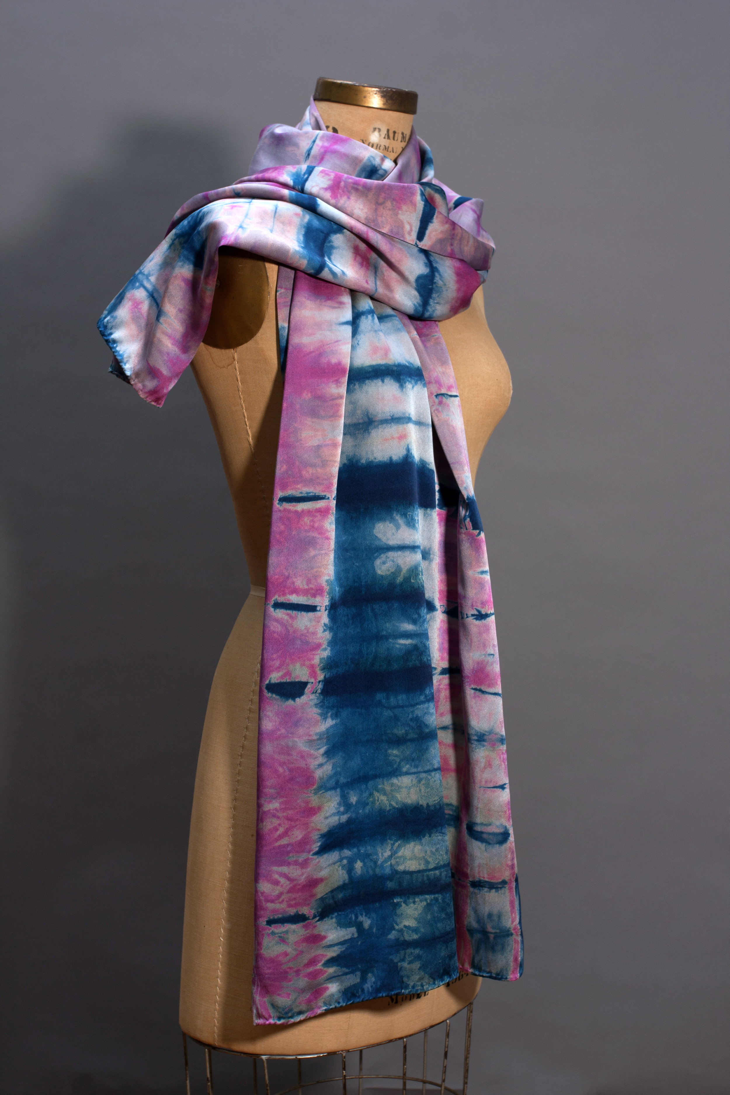 one/silk wrap in plums and natural indigo
