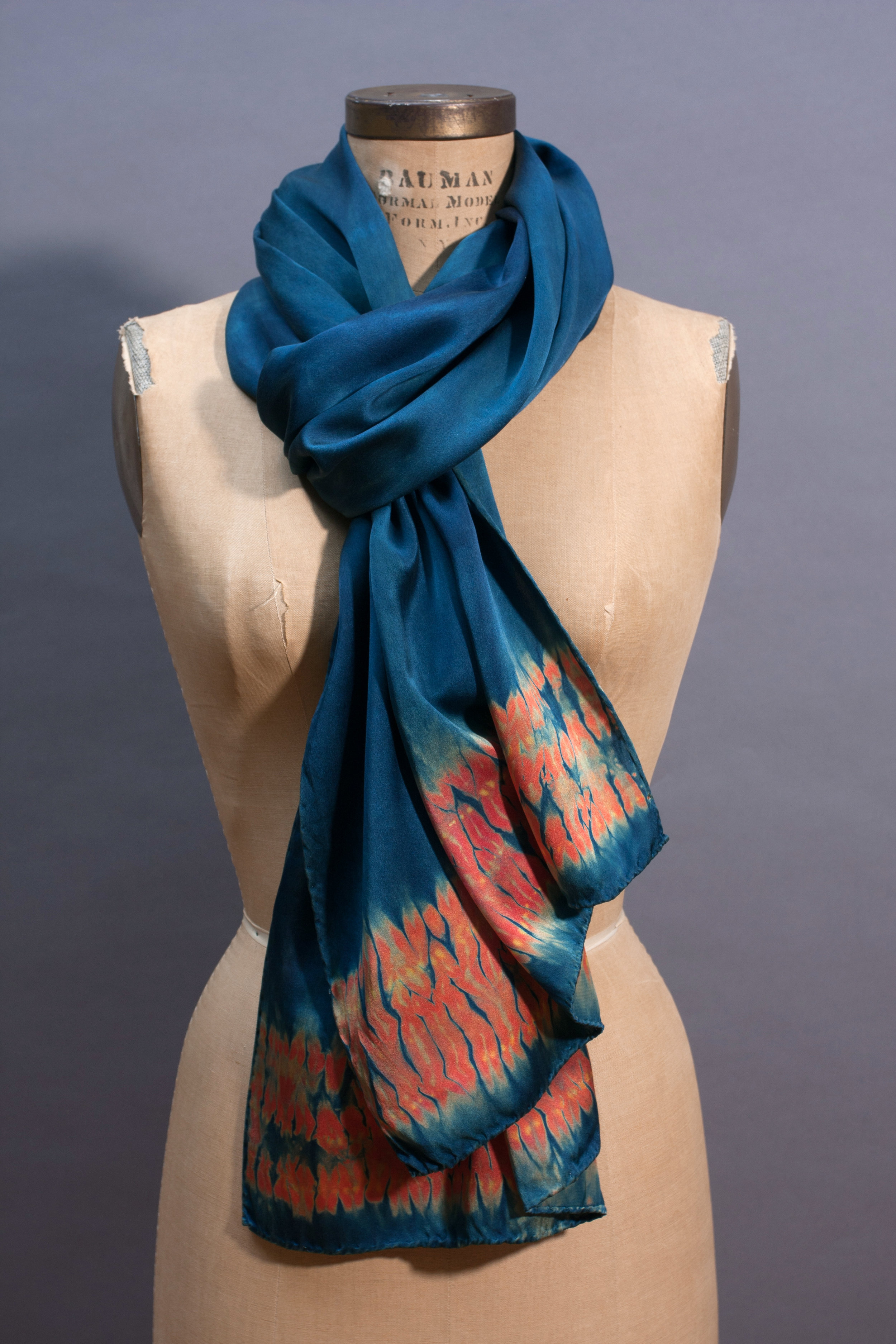 three/silk wrap in natural indigo and reds