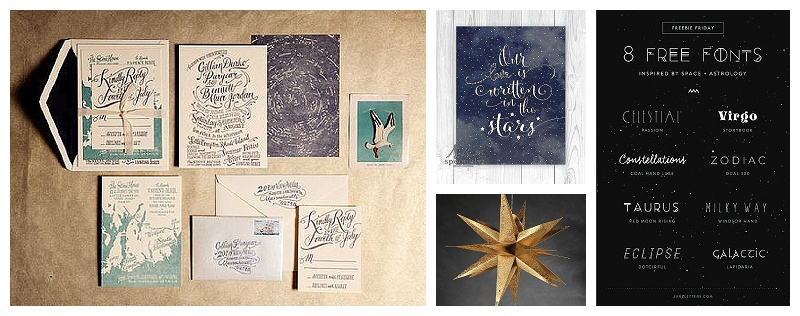 Chicago Wedding Planner Astronomy Theme Invites and signs