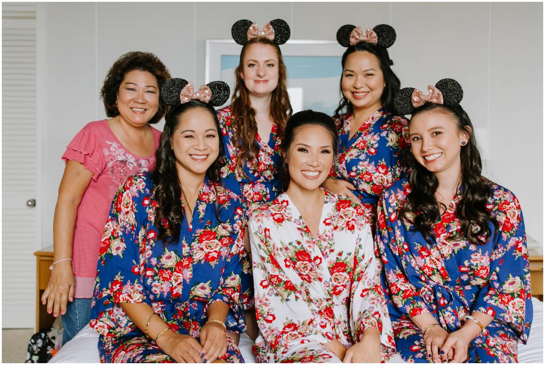 floral robes, disney themed wedding, Halekulani Hotel Wedding Photos, Waikiki Hawaii Wedding Photographer, Hawaii Wedding Photographer, Hawaii Wedding Photos, Waikiki Wedding