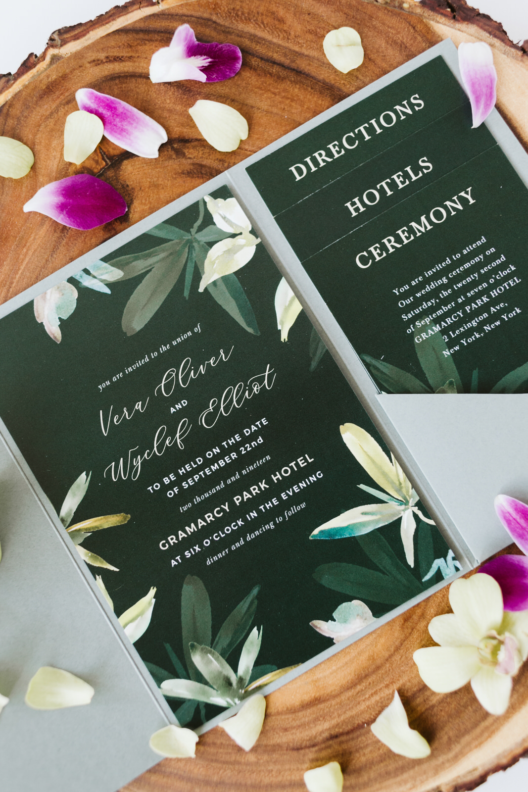 Wedding Stationary Hawaii orchid petals Wooden Basic invite Block directions Ceremony