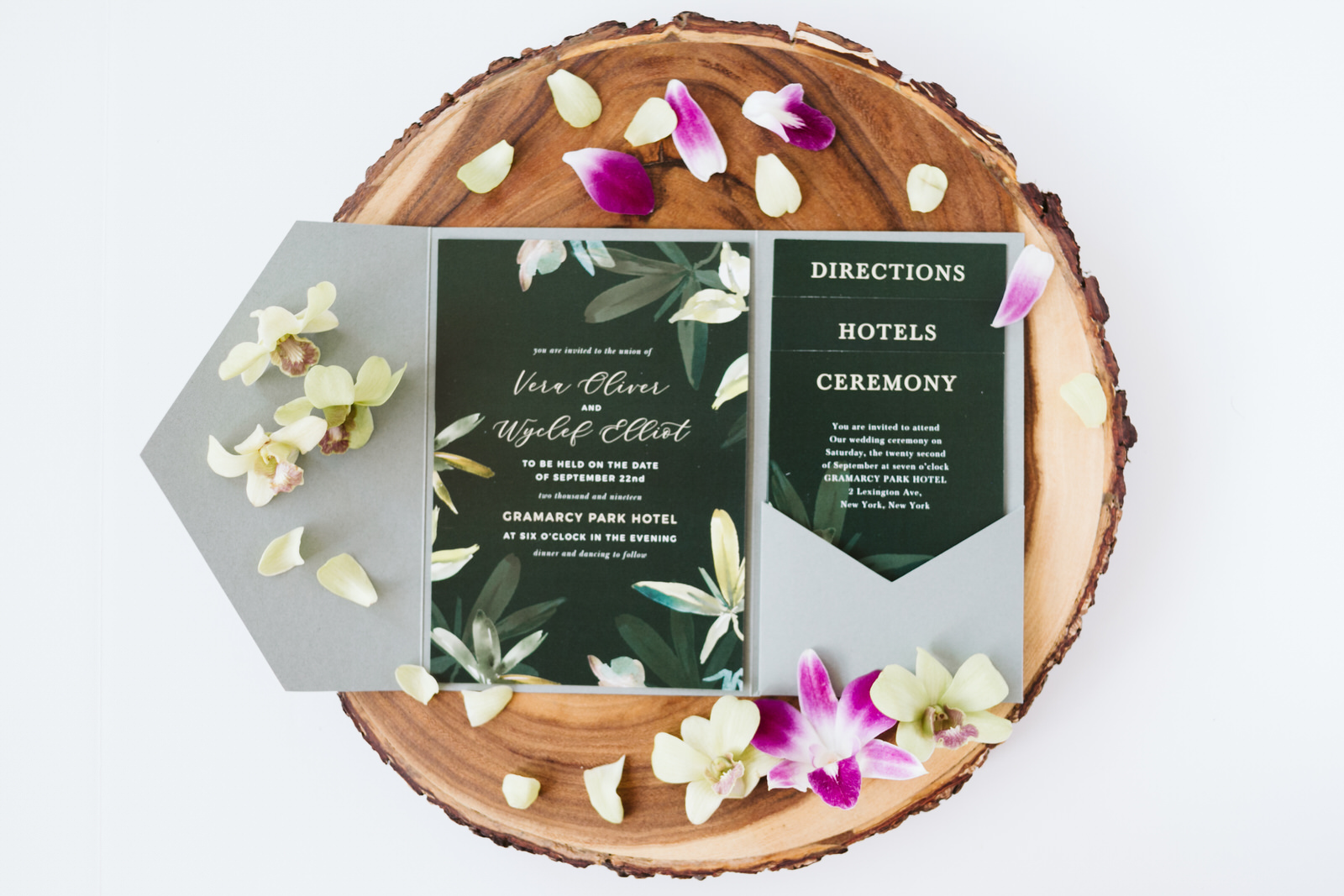 Wedding Stationary Hawaii orchid petals Wooden Basic invite Block directions Ceremony Hotels