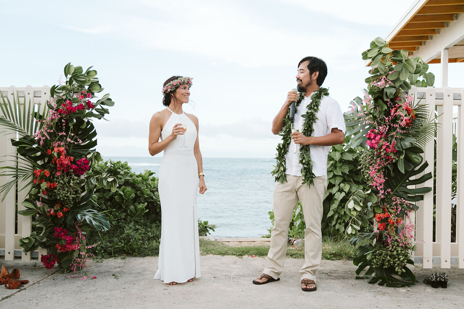 Mokuleia-North-Shore-Hawaii-Beach-House-Wedding-ceremony-champagne-toast