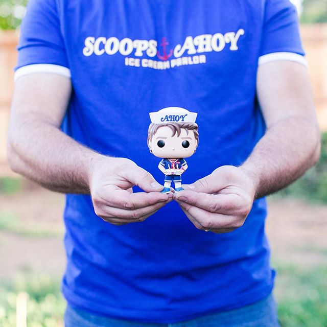 """When he says, """"I bought you presents today. You'll never guess."""" And he's right, and it's amazing. #scoopsahoy #ussbutterscotch #steveharrington #wheresthehat #baskinrobbins #strangerthings #whenbadguysturngood #netflix"""