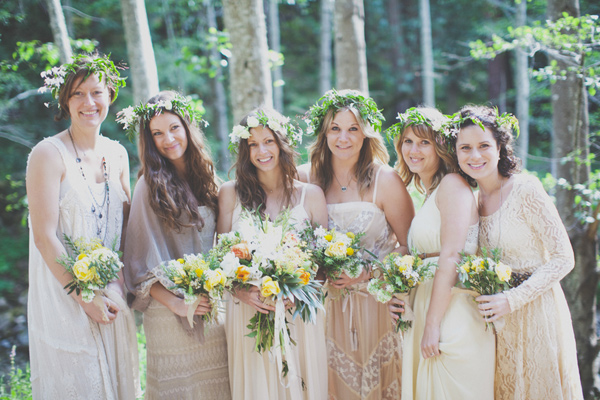 Bride and Bridesmaids Wearing Flower Crowns by Big Sur Flowers