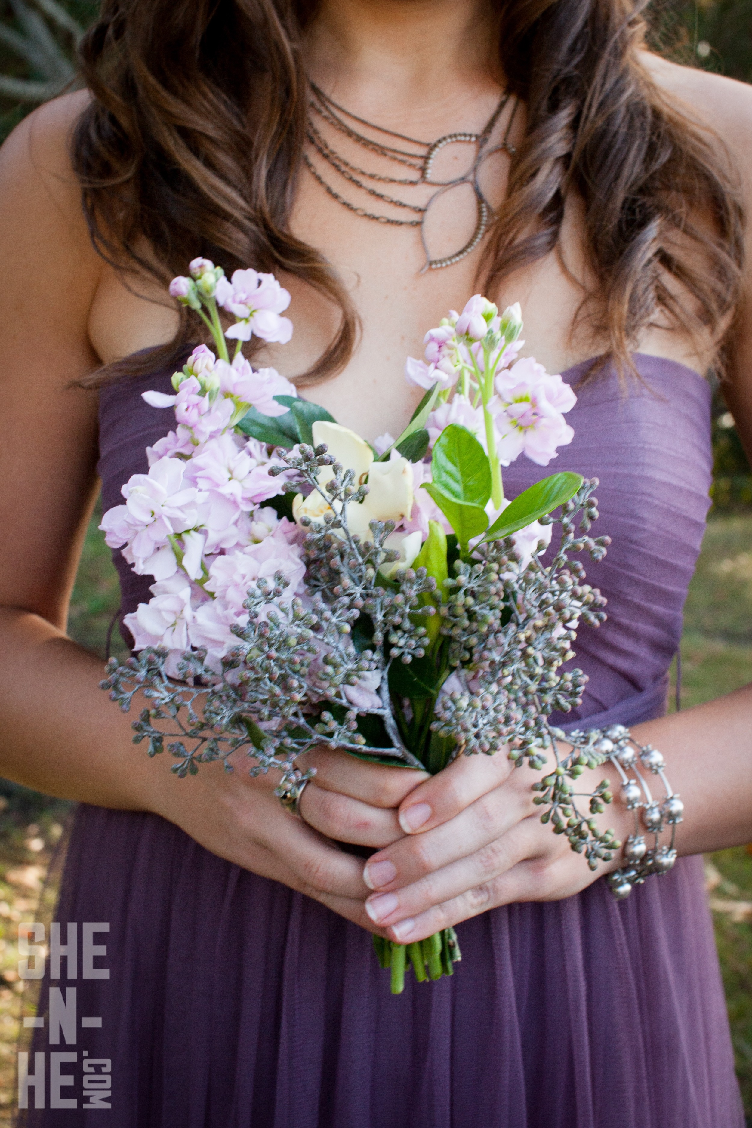 Purple and Wild Bridesmaid Bouquet by Big Sur Flowers
