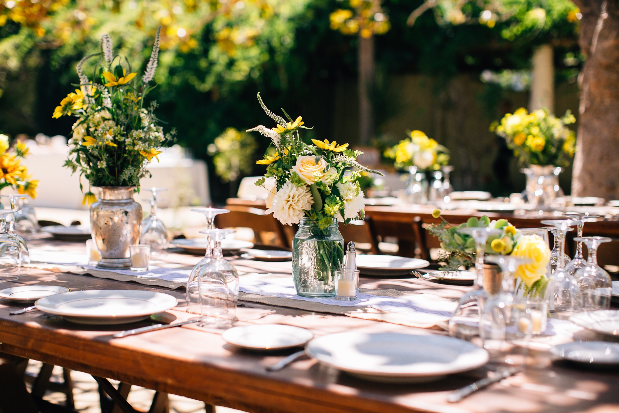 Wedding Dinner Table Decor by Big Sur Flowers