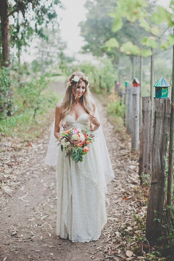 Vintage Wedding with Bouquet by Big Sur Flowers