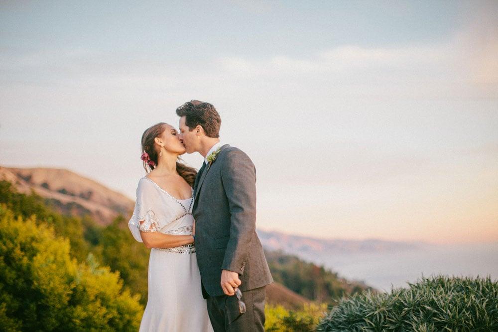 Bride and Groom Kissing at Ventana Wedding