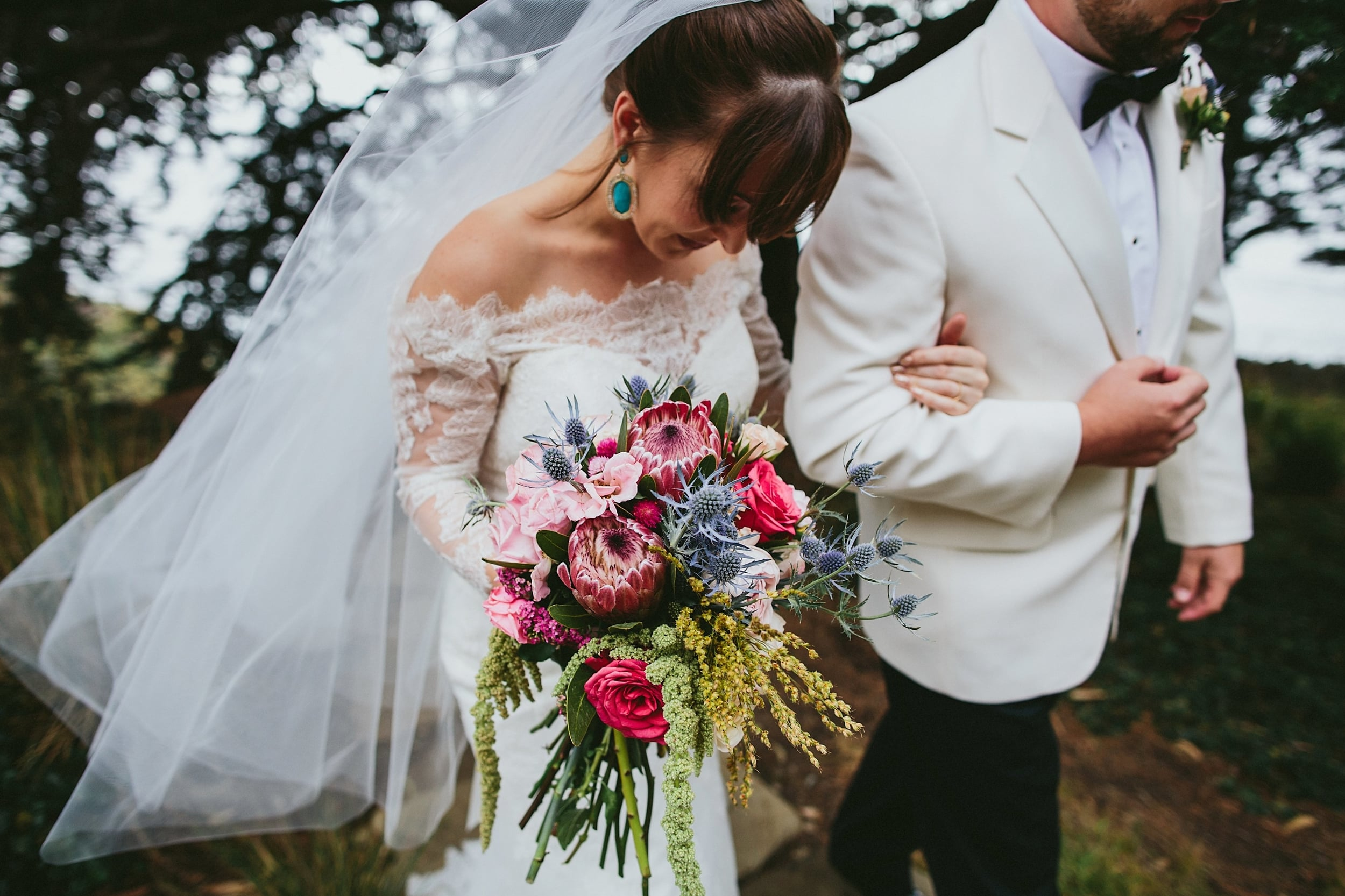 Bride Walking with Vibrant Bouquet