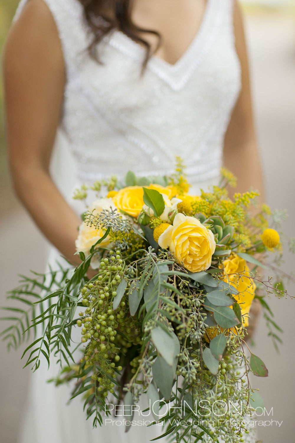 Bridal Bouquet with Yellow Roses and Wildflowers by Kate Healey