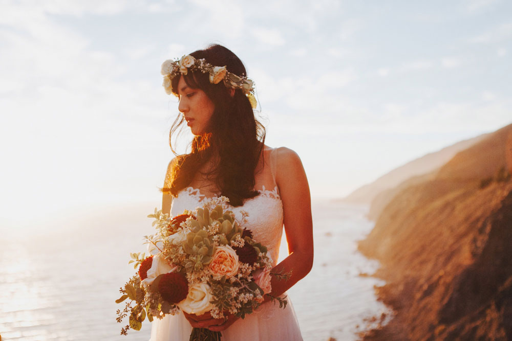 Bride adorned with Flower Crown and Bridal Bouquet by Florist Kate Healey