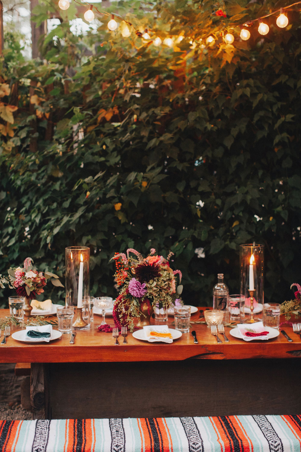 Colorful Table Decor and Flowers by Big Sur Flowers