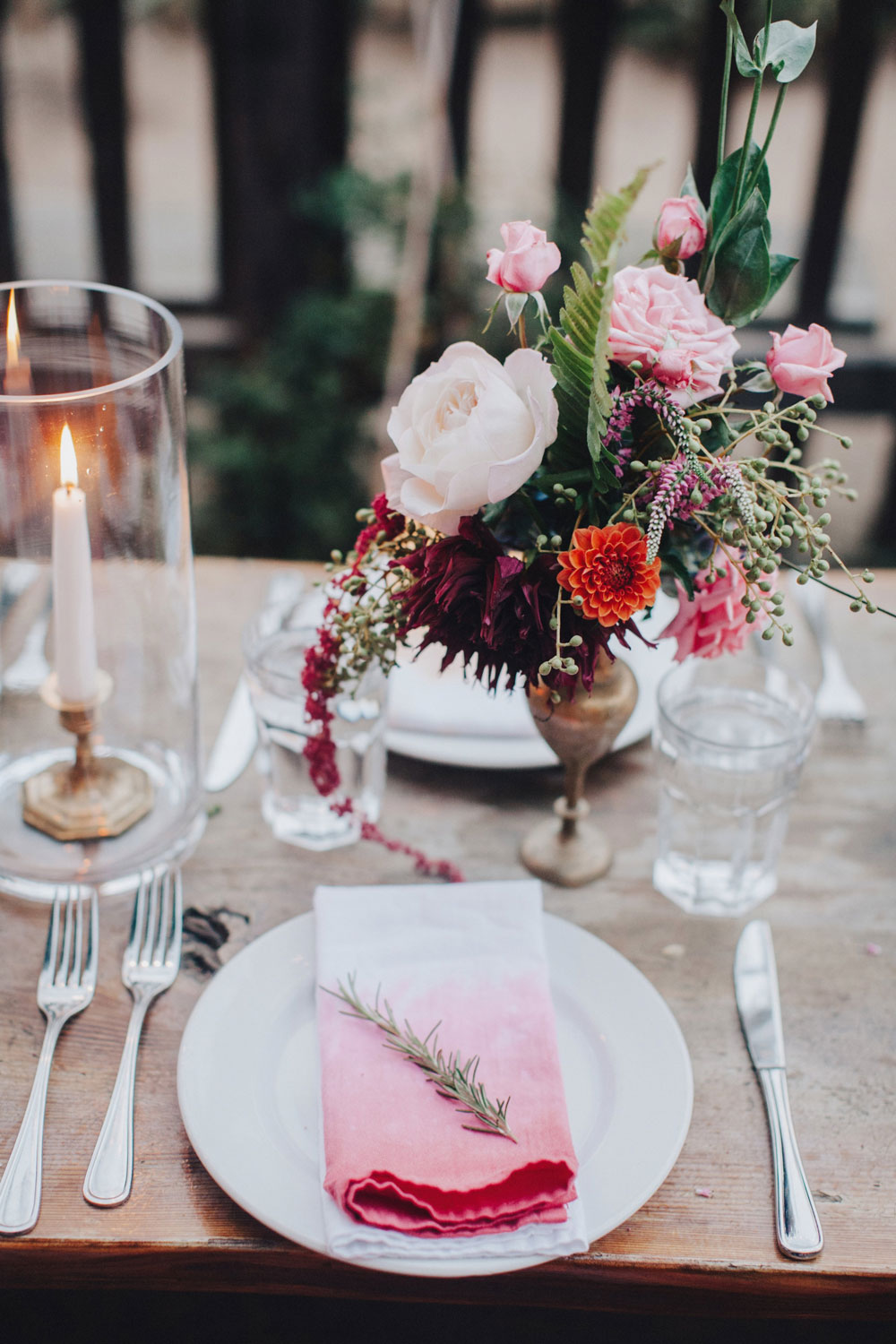Candles and Flowers in Antique Brass by Big Sur Flowers