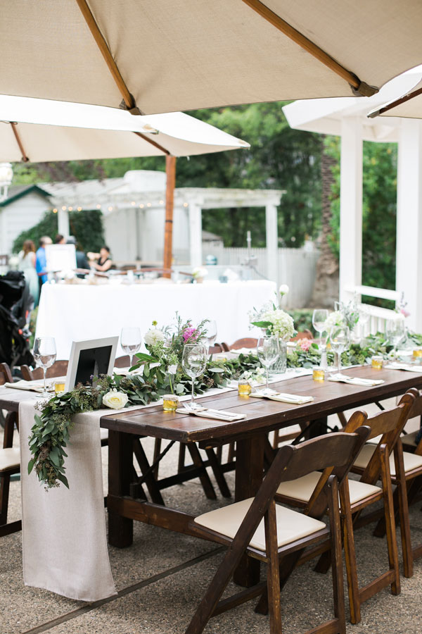 Table Garland and Decor at Los Laureles Lodge Wedding