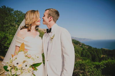 Couple at Wedding with Flowers by Big Sur Flowers