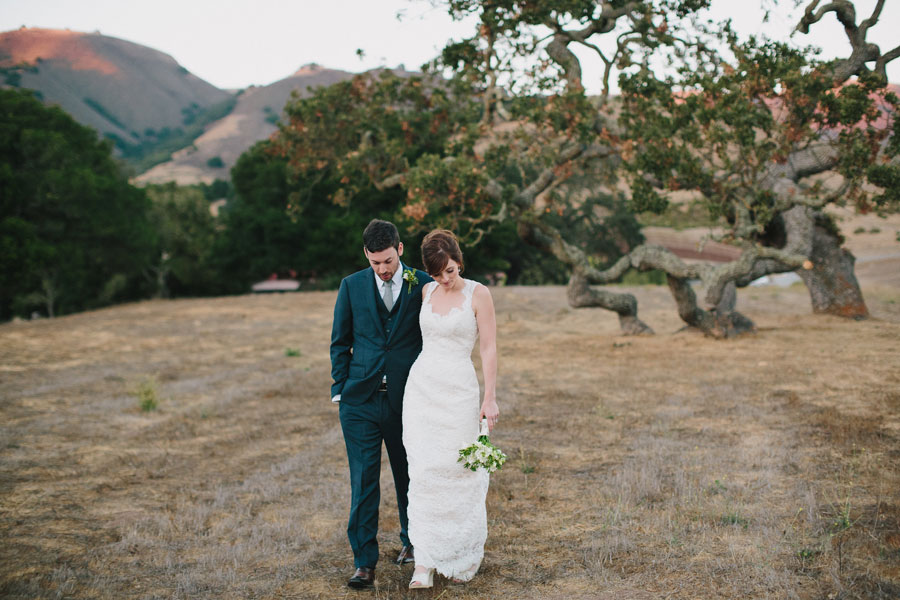 Groom and Bride Walking Together at the Holman Ranch