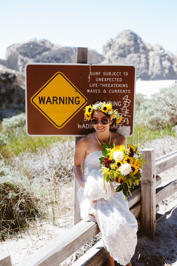 Bride with Flower Crown and Bouquet in Big Sur