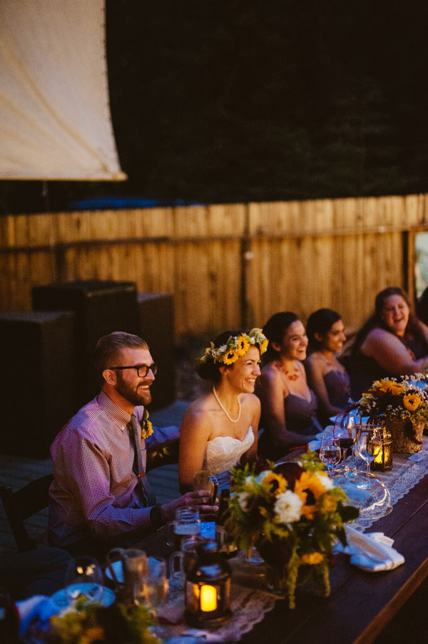 Candle Lit Wedding Dinner with Decor by Big Sur Flowers