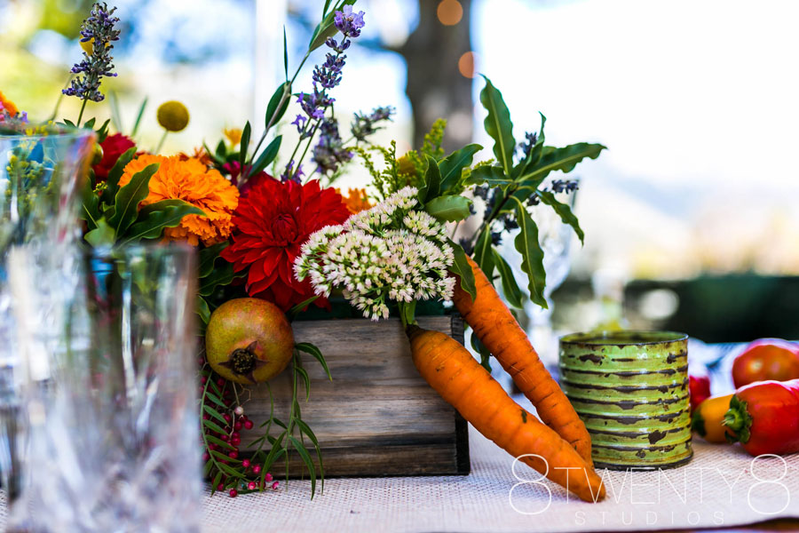 Table Decor with Flowers and Veggies by Kate Healey