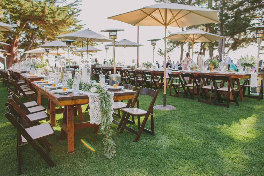 Tables is Cascading Garlands by Kate Healey of Big Sur Flowers
