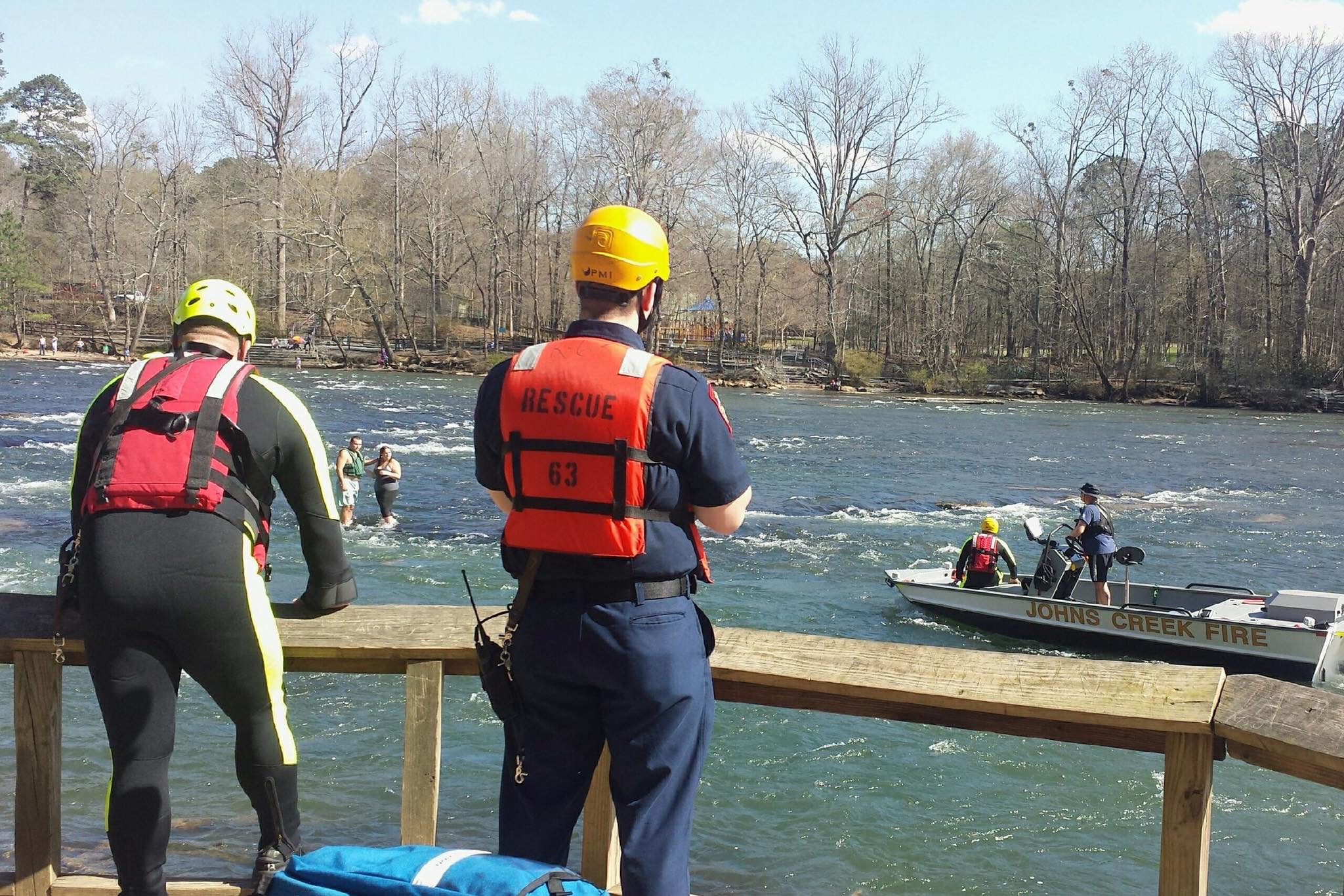 A man and woman were rescued by the Johns Creek Fire Department after they lost their canoe and became stranded in the Chattahoochee River at the Chattahoochee National Recreation Area in Johns Creek, Georgia. Credit:  Candra Umunna