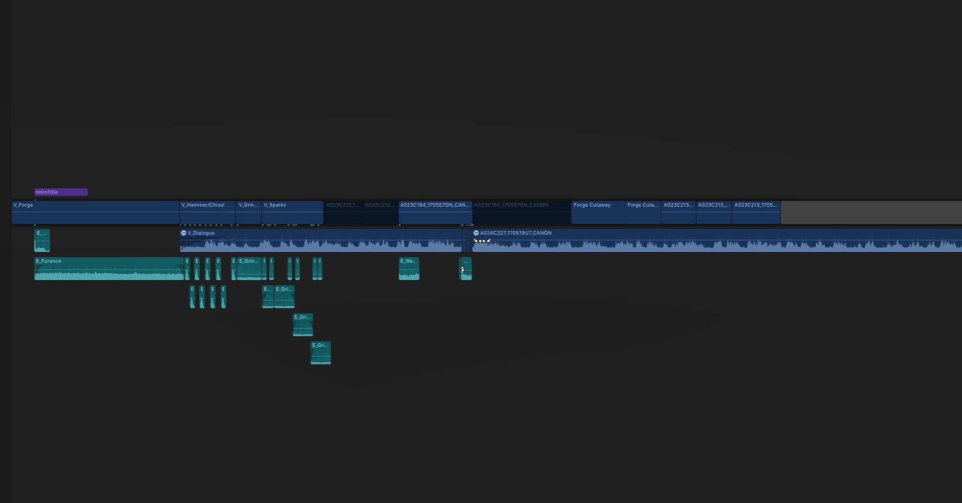 First draft of my documentary's timeline in FCPX.