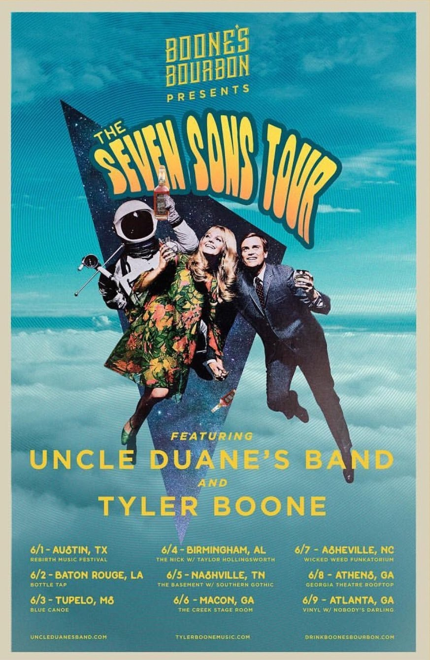 Uncle Duane's Band on tour with  Tyler Boone  this summer!   Sponsored by  Boone's Bourbon .