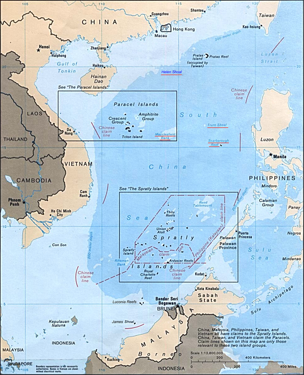 CIA Map of Territorial Claims in the South China Sea