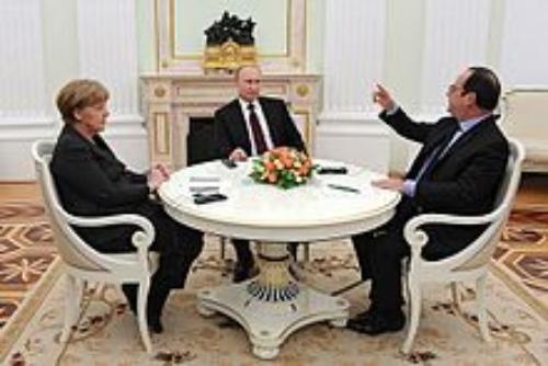 Angela Merkel, Vladimir Putin, and Francois Hollande