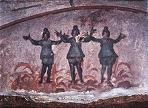 3rd/4th century depiction of Shadrach, Meshach, and Abed-Nego   in the fiery furnace