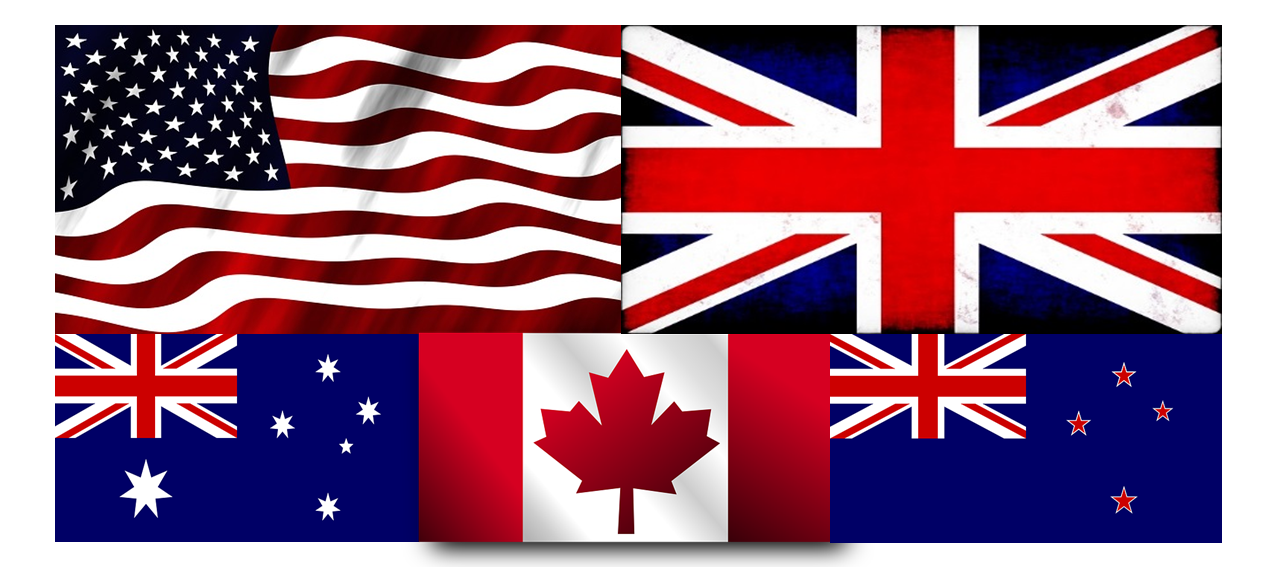 Flags: USA, UK, Australia, Canada and New Zealand