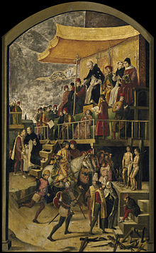 Artist depiction of Catholic saint Dominic presiding over burning two at the stake