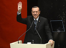 Recep Tayyip Erdoğan making the Rabia gesture to show solidarity with the Muslim Brotherhood(2013)