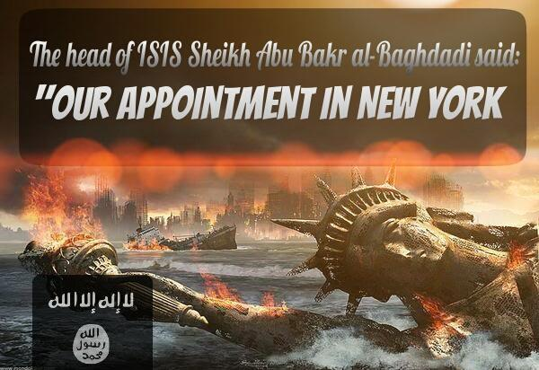 "Islamic State supporters are sending a message of destruction to the USA. Posting under the hashtag ""#AmessagefromISIStoUS,"" individuals who appeared to be members of the Islamic State said the militant group had an ""appointment in New York."""