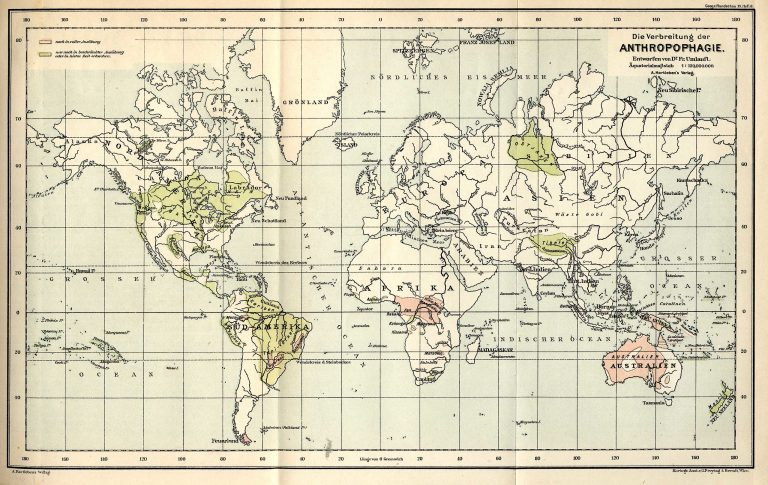19th Century Map of Extent of Human Cannibalism (Wikipedia)