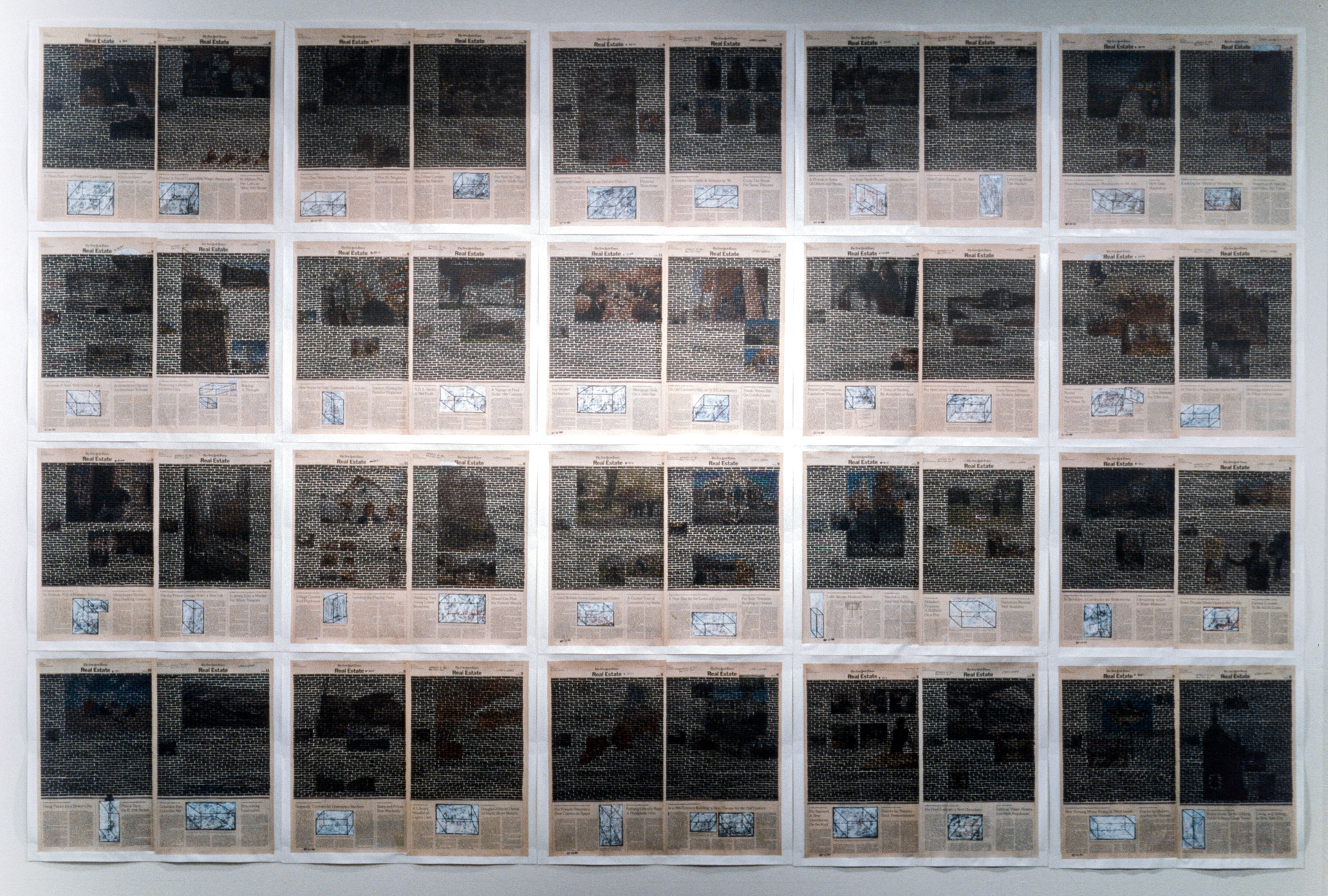 Real Estate , composite view, 1999. Permanent markers and correction fluid on newspaper mounted on canvas.