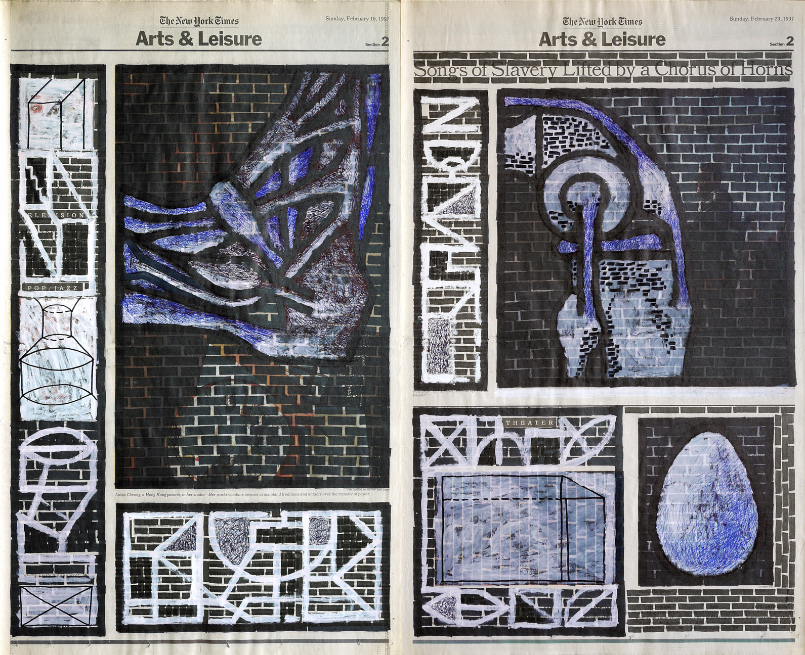 Arts & Leisure , 2002. Permanent markers, correction fluid and ball-pen on newspaper.
